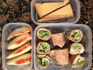 Broccoli and Laughing Cow Cheese Rollup, Peach, Greek Yogurt Pumpkin Cheesecake