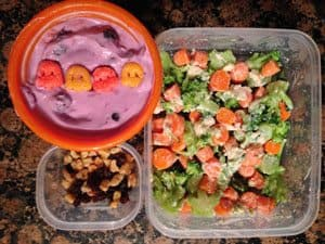 Broccoli, Carrots and Cheese, Greek Yogurt Monster Cereal Parfait, Walnuts and Raisins