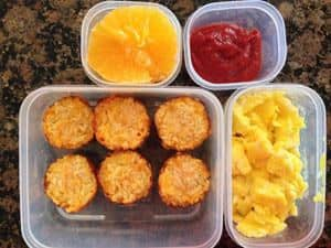Scrambled Eggs, Cauli-Tots and Homemade Ketchup, Orange