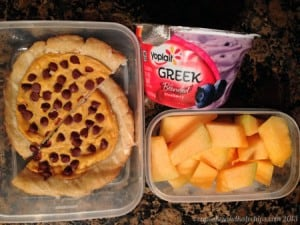 Gluten Free Pumpkin Chocolate Chip Pastry, Yoplait Greek Blueberry and Cantaloupe