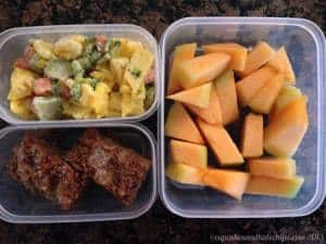 Scrambled Eggs with Veggies and Cheese, Gluten-Free Pumpking Pecan Crumb Cake and Cantaloupe