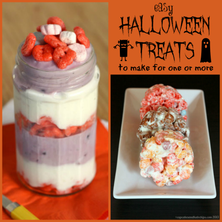Easy Halloween Treats for one or more - Monster Cereal Marshmallow Treats and Franken-Blueberry Greek Yogurt Parfaits | cupcakesandkalechips.com | #halloween #greekyogurt #parfait #marshmallows #cerealtreats