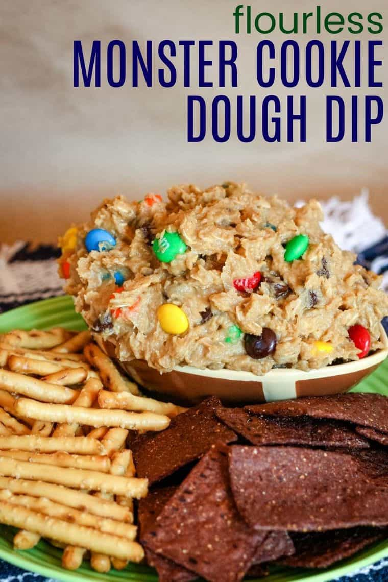 Flourless Monster Cookie Dough Dip Recipe image with title