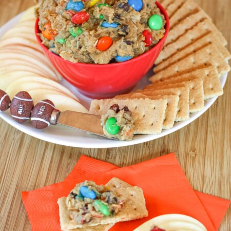 Edible Cookie Dough with M&M's and chocolate chips serve with apples and graham crackers