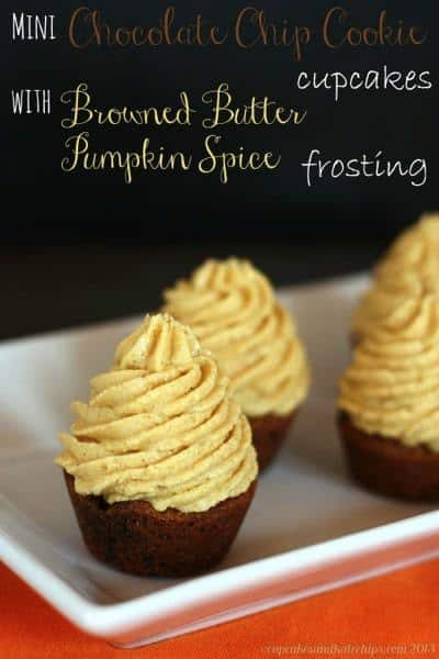 Mini Chocolate Chip Cookie Cupcakes with Browned Butter Pumpkin Spice Frosting | cupcakesandkalechips.com | #cookies #cupcakes #chocolatechipcookies #pumpkin #brownedbutter #glutenfree