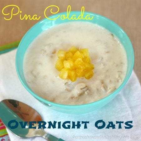 Pina Colada Overnight Oats | cupcakesandkalechips.com | #pinacolada #overnightoats #glutenfree #oatmeal #breakfast