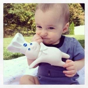 Smiles eating doughboy backyard