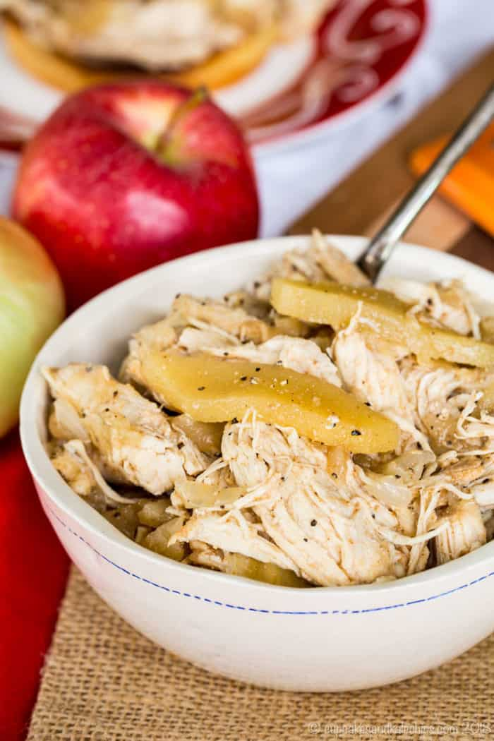Apple Cider Slow Cooker Pulled Chicken can by used on sandwiches or salads