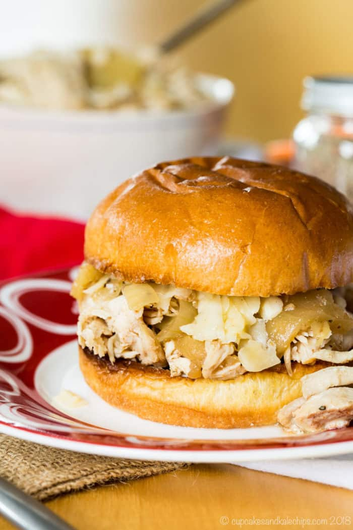 Slow Cooker or Instant Pot Pulled Chicken Sandwiches with apple cider, apples, and onions