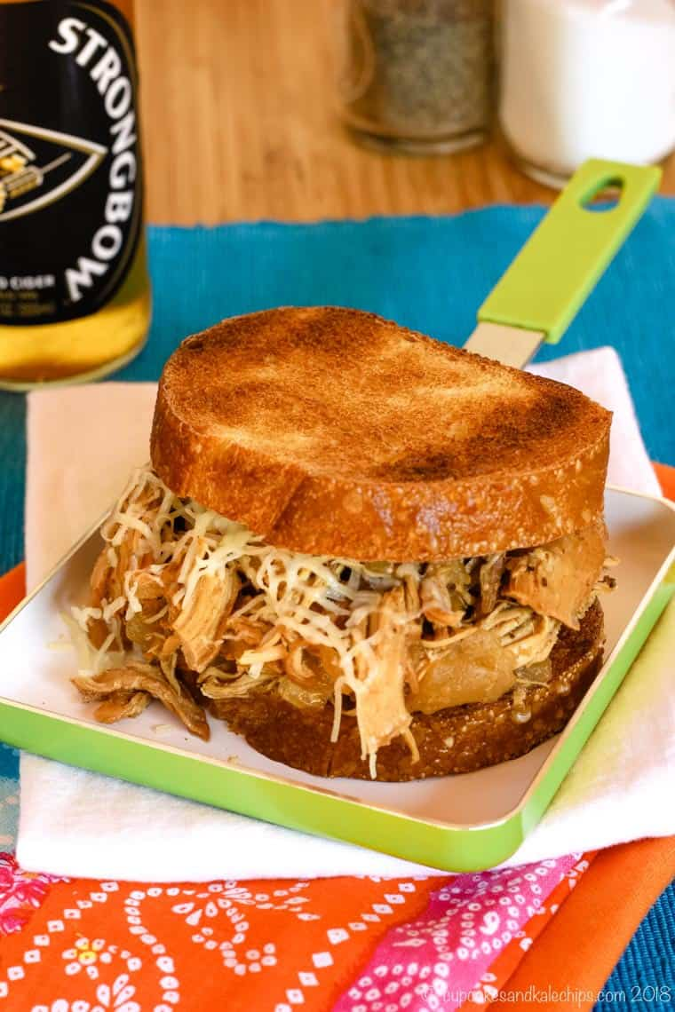 Apple Cider Slow Cooker Pulled Chicken Sandwiches on toasted sourdough bread
