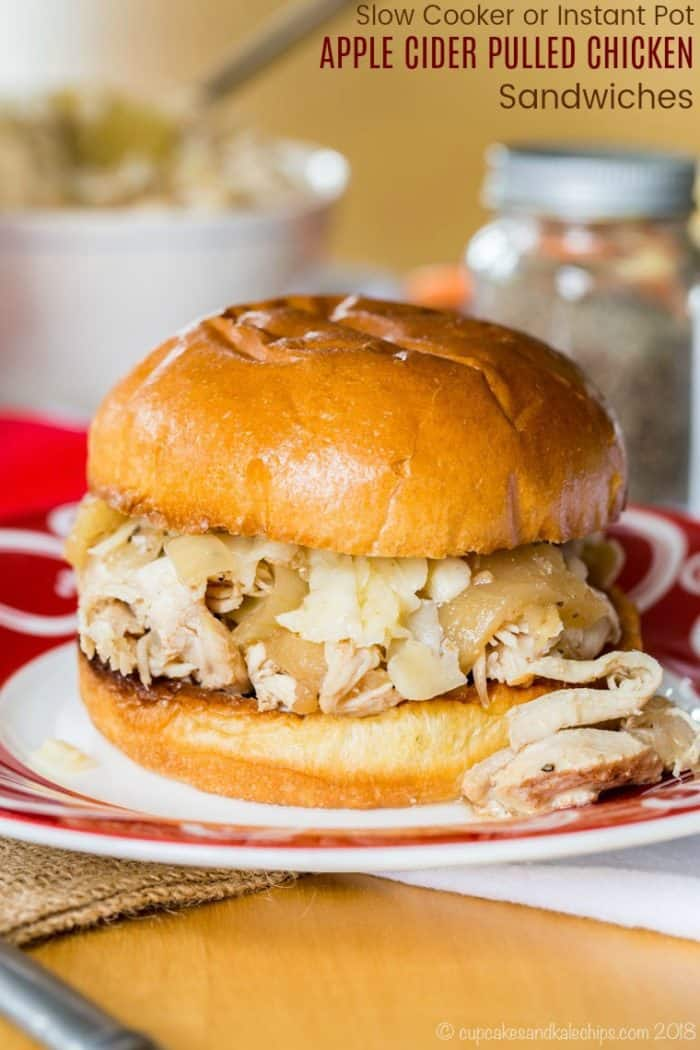 Apple Cider Slow Cooker Pulled Chicken Sandwiches Recipe