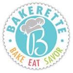 Bakerette circular logo with Bake Eat Savor motto