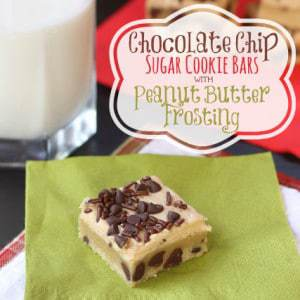 Chocolate Chip Sugar Cookie Bars Peanut Butter Frosting 2 title