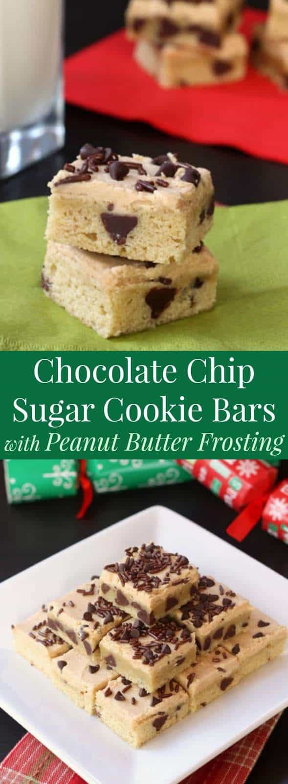 Chocolate Chip Sugar Cookie Bars with Peanut Butter Frosting - an easy Christmas cookie recipe to make with the kids!