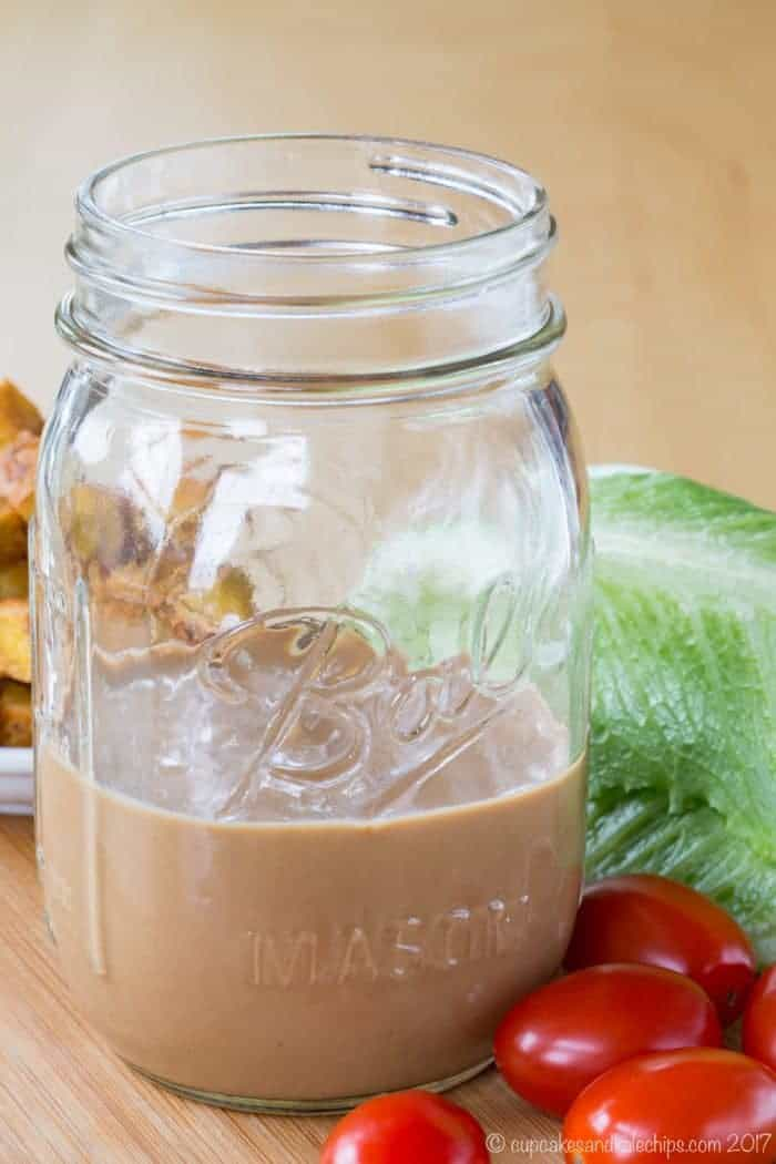 Greek Yogurt Creamy Balsamic Dressing in a glass jar