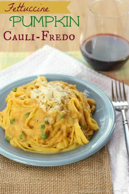 Fettuccine Pumpkin Cauliflower Alfredo - this delicious sauce is a healthy way to enjoy fettuccine Alfredo! Enjoy this cauli-fredo recipe over pasta or even zoodles for a gluten free and low carb option. #cauliflower #pumpkin #glutenfree #fettuccinealfredo