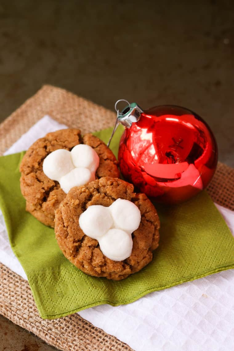 Flourless Fluffernutter Cookie Recipe for Christmas with an ornament