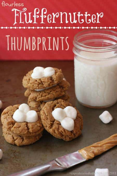 Flourless Fluffernutter Thumbprints - flourless peanut butter cookies with marshmallows are a simple and fun recipe inspired by a childhood favorite sandwich. | cupcakesandkalechips.com | gluten free
