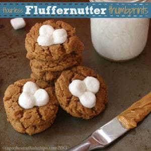 Fluffernutter Flourless Peanut Butter Marshmallow Thumbprint Cookies 3 title