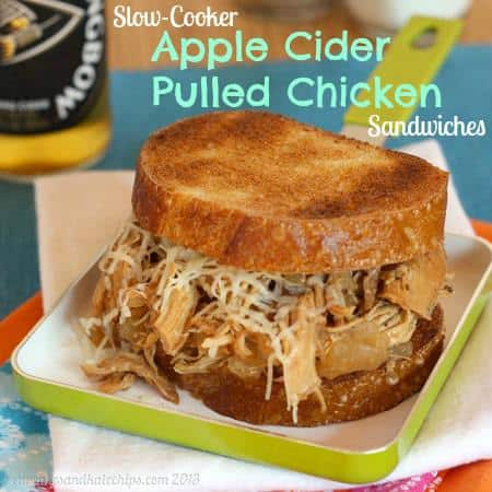 Slow-Cooker Apple Cider Pulled Chicken Sandwiches for #WeekdaySupper - Cupcakes & Kale Chips