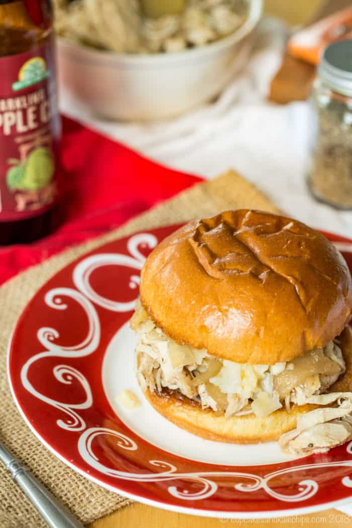 Slow Cooker Apple Cider Pulled Chicken Sandwiches on a roll