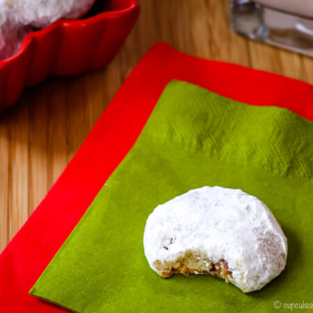 Toffee Almond Snowball Cookies Rolled in Powdered Sugar