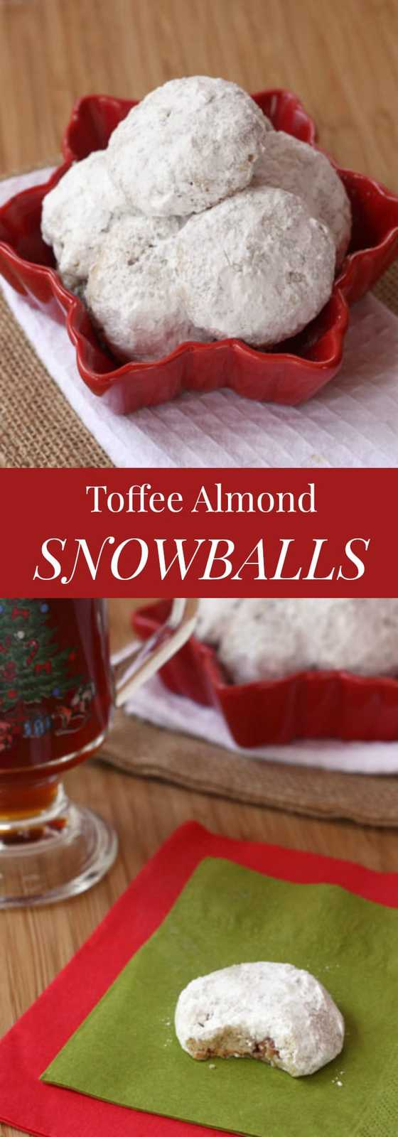 Toffee Almond Snowball Cookies - perfect with your cup of coffee or tea! | cupcakesandkalechips.com