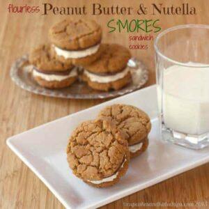 Flourless Peanut Butter Nutella S'mores Sandwich Cookies | cupcakesandkalechips.com