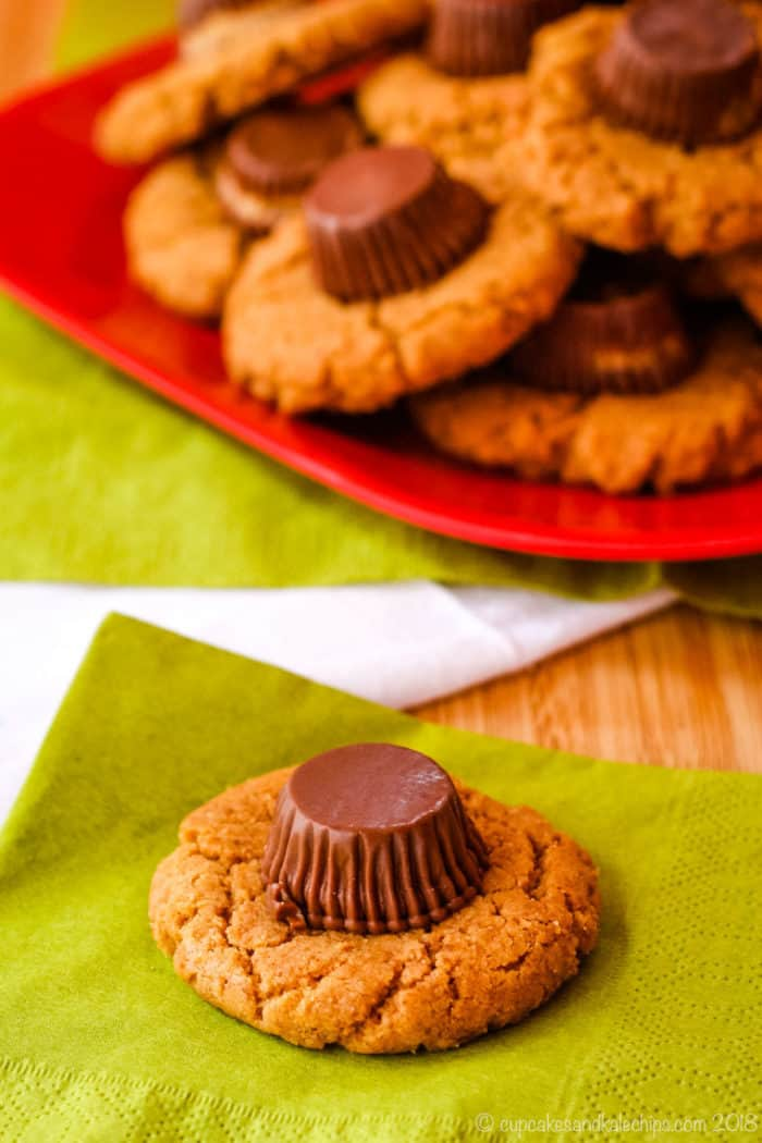 One Reese's Peanut Butter Cup Cookie on a green napkin