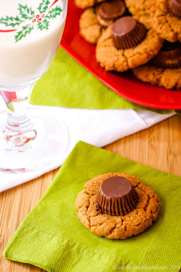 Flourless Reese's Peanut Butter Cup Cookies with milk