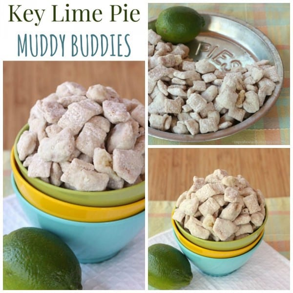 Key Lime Pie Muddy Buddies - a fun, citrus-flavored version of your favorite puppy chow snack mix. | cupcakesandkalechips.com
