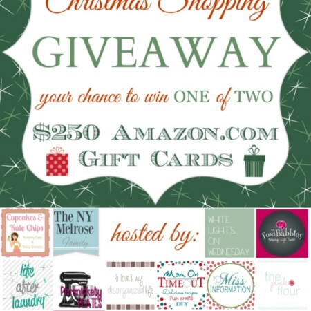 You could win a $250 Amazon gift card, hosted by these bloggers shown here, and complete some last minute Christmas gift shopping!