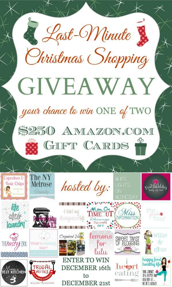 Last Minute Christmas Shopping Giveaway > win one of TWO $250 amazon.com gift cards.  Giveaway ends Dec 21st.