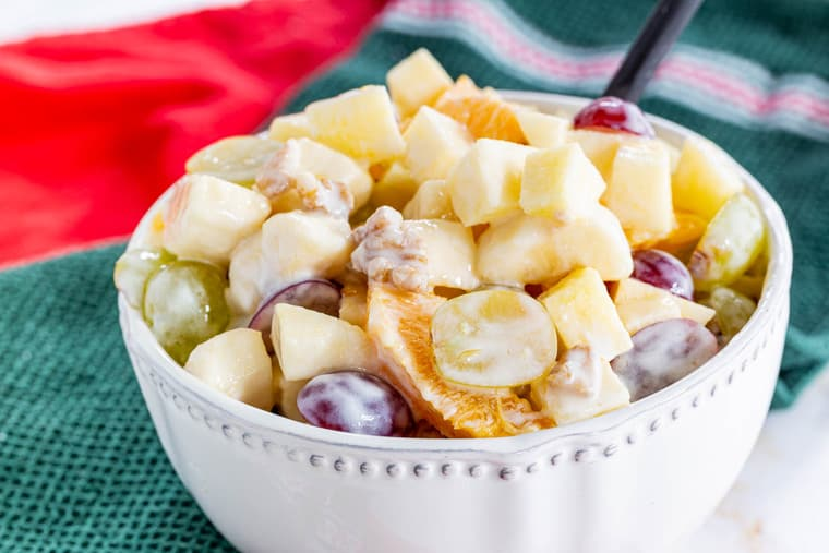 Winter Fruit Salad with apples, grapes, oranges, bananas, and walnuts