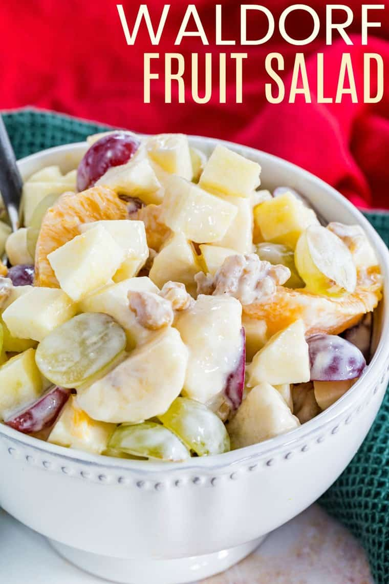 Creamy Waldorf Fruit Salad Recipe Image with title
