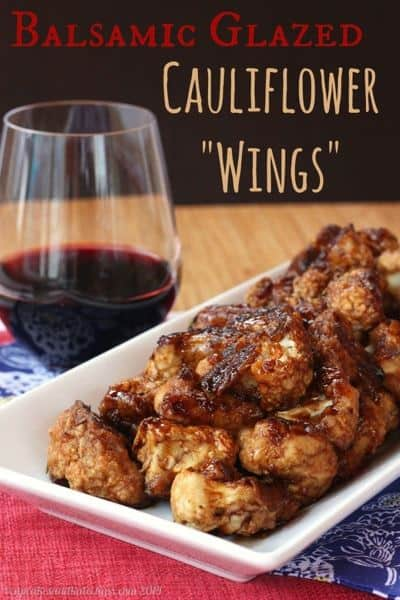 "Balsamic Glazed Cauliflower ""Wings"" - a fun vegetable side dish or gluten free appetizer recipe that vegans and carnivores alike will devour. 