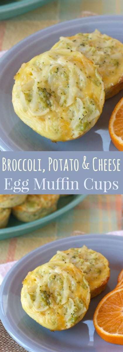 Broccoli, Potato and Cheese Egg Muffin Cups - a yummy, cheesy make-ahead breakfast recipe perfect for busy mornings or a holiday brunch. | cupcakesandkalechips.com | gluten free, vegetarian