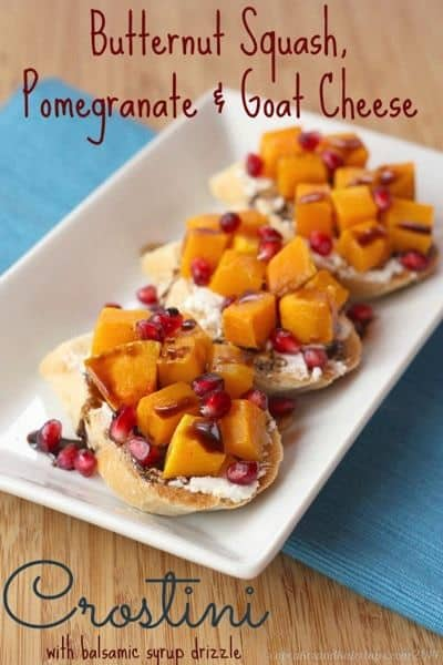 Butternut Squash, Pomegrante and Goat Cheese Crostini | #glutenfree #vegetarian #appetizer