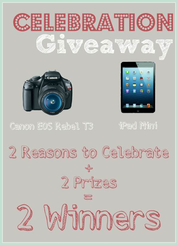 2 Prizes (Canon Rebel Camera & iPad Mini) + 2 Winners = 1 Awesome Giveaway
