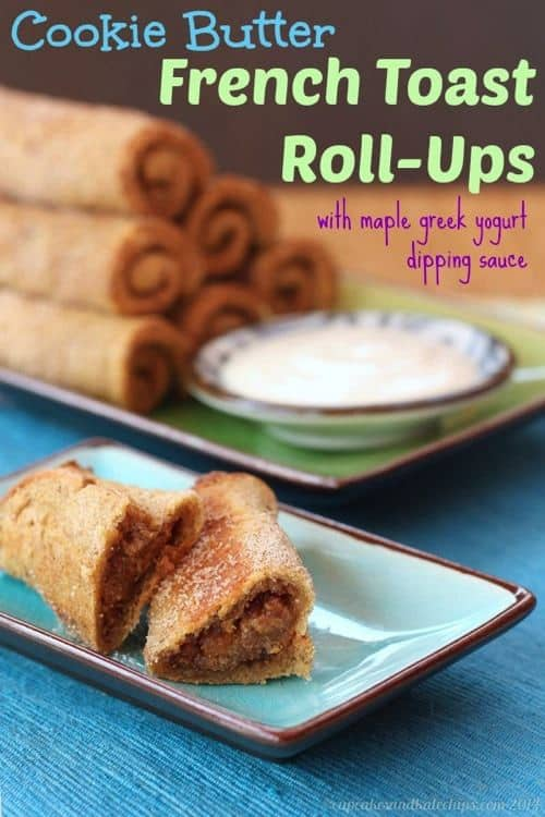 Cookie Butter French Toast Roll-Ups with Maple Greek Yogurt Dipping Sauce   cupcakesandkalechips.com   #breakfast #brunch #biscoff