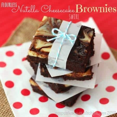 Flourless Nutella Cheesecake Swirl Brownies - rich, fudgy brownies swirled with cheesecake and Nutella. Perfect for any chocolate lover! Gluten free, but easy and delicious for anyone!   cupcakesandkalechips.com