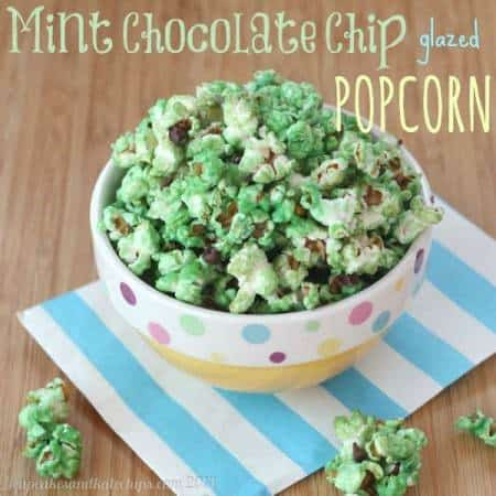 Mint Chocolate Chip Glazed Popcorn