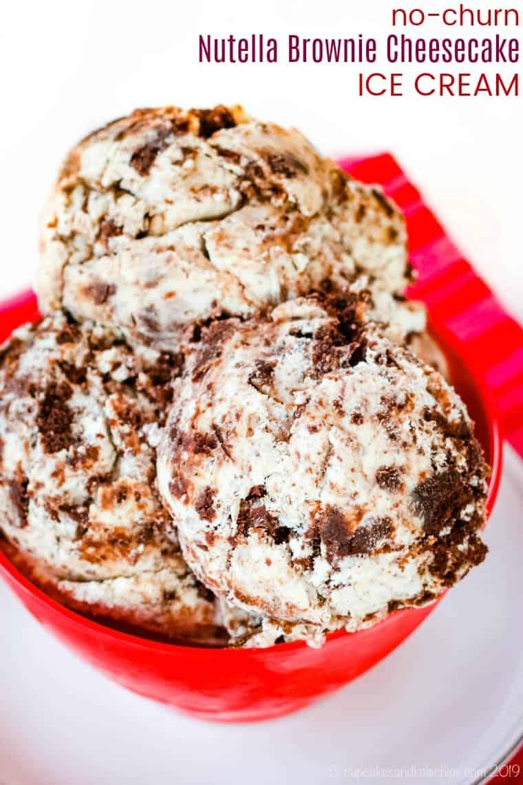 No-Churn Nutella Brownie Cheesecake Ice Cream Recipe