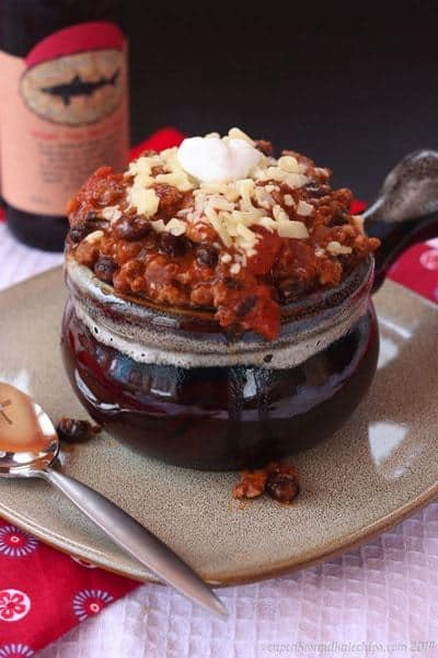 Healthy Turkey Chili Recipe in a crock