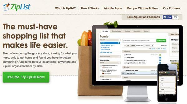 ZipList website screen shot