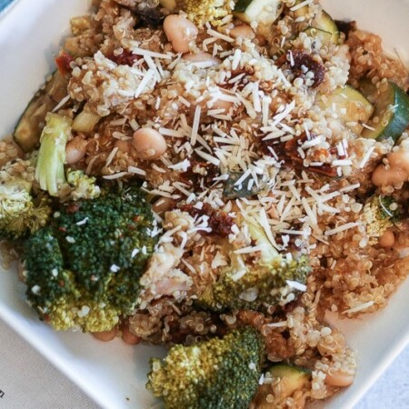 slow cooker vegetable Parmesan quinoa