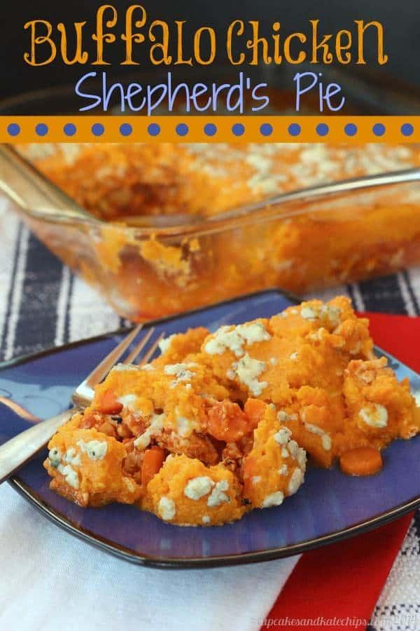 Buffalo Chicken Shepherd's Pie | cupcakesandkalechips.com | #buffalochicken #shepherdspie #sweetpotatoes