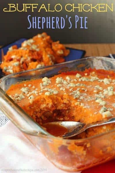 Buffalo Chicken Shepherd's Pie | cupcakesandkalechips.com | #buffalochicken #shepherdspie #sweetpotatoes