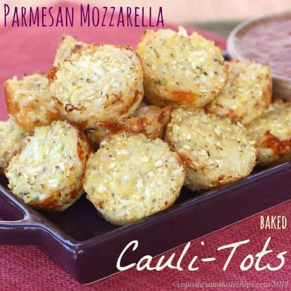 Parmesan Mozzarella Baked Cauli-Tots (aka Pizza-Tots) | cupcakesandkalechips.com | #cauliflower #glutenfree #sidedish #vegetables