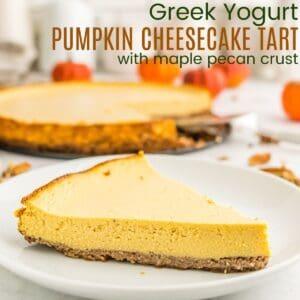 piece of greek yogurt pumpkin cheesecake tart on a white plate
